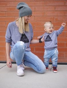 """Is there anything cuter than matching Mommy + Kid? Say """"I love you"""" to each other with these matching Je T'aime Pullovers. This listing is for a women's pullove"""