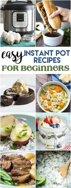 These easy Instant Pot recipes for beginners will get you pressure cooking in no time and you'll be a pro before you know it! There are recipes for breakfast, lunch, dinner, and even dessert! Staples like rice, beans, baked potatoes, or hard boiled eggs. Even save money with homemade yogurt! These simple recipes will inspire you to take your instant pot out of the box and actually start using it!