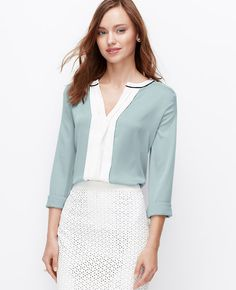 Cool, crisp and colorblocked, this icy-cool style works well beyond 9-to-5.