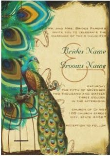 Musical Peacock Birdcage Feather Wedding Invites – Burnt Parchment Look Vintage Peacock Invitations Peacock Feather Birdcage Weddings