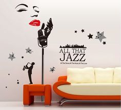 GIANT All That Jazz Music Wall Decal Sticker SL9100 Home Art Mural Decor Dance Club Birthday Christmas Gift