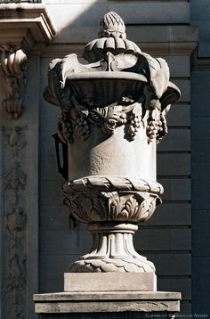 Urn outside of a French Chateau style home