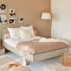Lampadaire style scandinave en chêne et coton H165cm - Mokuzai - Alinea