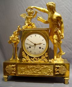 Antique French Empire ormolu clock of Venus & Cupid. - Gavin Douglas Antiques