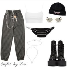 Tomboy Outfits, Teen Fashion Outfits, Swag Outfits, Kpop Fashion, Retro Outfits, Grunge Outfits, Stylish Outfits, Korean Fashion, Fall Outfits
