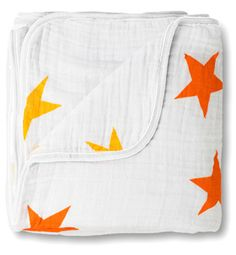 aden + anais. super star dream blanket.  I LOVE the orange and yellow stars!