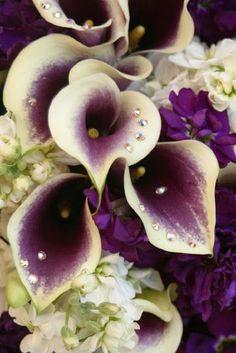 Purple Calla Lillies with Rhinestones = MOST BEAUTIFUL!