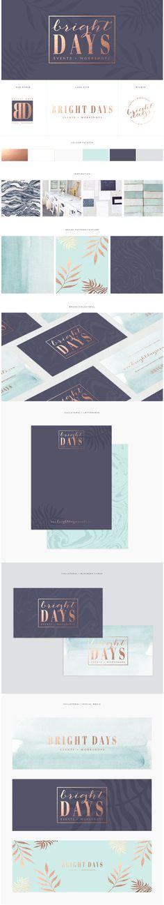 Custom brand design / www.brandmebeautiful.co.uk / enquiries@brandmebeautiful.co.uk // navy, gold, turquoise, logo design, stationery, marble, botanical