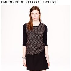 J.Crew floral embroidered tee A beautiful too by J.Crew. It's navy with a full front floral embroidered pattern. It has 3/4 sleeves and back is plain navy. 100% cotton. Sold out on J.Crew.com. Size large. J. Crew Tops