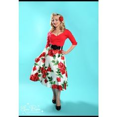 Doris Skirt in Red Floral Print ($82) ❤ liked on Polyvore