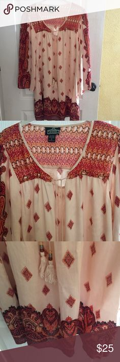 """Angie LS Boho Rayon print Dress size small Angie size small long sleeve print Boho Rayon dress. Cute dress with bell sleeves which ties in the front. Shows little wear. Measures across the chest 20""""'sleeve length 25"""" and length of the dress is 34"""" very pretty from a smoke free home. Angie Dresses Long Sleeve"""
