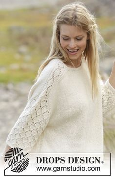 Jumper with lace pattern on shoulders and sleeves, knitted top down in DROPS Puna. Size: S - XXXL Free pattern by DROPS Design. Beginner Knit Scarf, Easy Knitting, Knitting Patterns Free, Free Pattern, Crochet Patterns, Drops Design, Jumpers For Women, Sweaters For Women, Ladies Jumpers