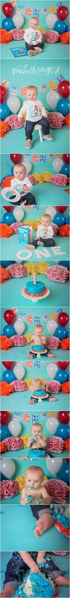 Michelle Voigt Photography  - Cake Smashwww.mvoigtphotography.com Dr. Seuss Cake…