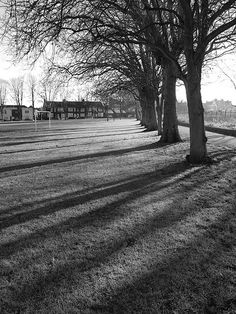 Shadows on the Great Lines at Brompton Medway, Gillingham, Kent. Lived here in the first few months of my marriage, 1972.