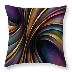 Chromatic Colorful Ribbon Multicolor Throw Pillow featuring the painting Abstract Design 55 by Michael Lang Tole Painting, Painting Abstract, Abstract Canvas, Rain Art, Canvas Art, Canvas Prints, Buy Art Online, Pillow Sale, Canvas Material
