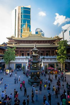 This is the Jing'an temple in Shanghai China. It is located in the Jing'an district which was named after the temple. This is a buddhist temple that was first built in 247 AD, then relocated and used for its original purpose again in 1983.
