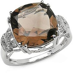 Malaika Sterling Silver Smokey Quartz and Diamond Ring - Overstock™ Shopping - Top Rated Malaika Gemstone Rings