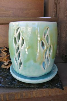 Ceramic Orchid Planter Flower Pot in Aqua by ShadyGrovePottery