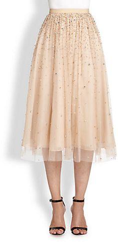 Jupon en tulle : Saks Fifth Avenue – Alice + Olivia Rina Embellished Tulle Skirt Diy Tulle Skirt, Tulle Skirts, Tulle Dress, Dress Skirt, Dress Up, Long Skirts, Diy Wedding Shoes, Diy Wedding Dress, Alice Olivia