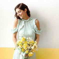 A mint green dress is so summery and sweet for a bridal party.