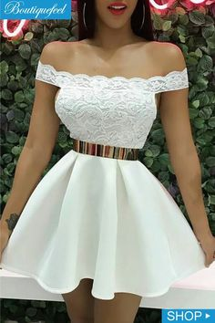 Off Shoulder Lace Splicing Pleated Dress trendiest dresses for any occasions, including wedding gowns, special event dresses, accessories and women clothing. White Homecoming Dresses, Hoco Dresses, Pretty Dresses, Beautiful Dresses, Evening Dresses, 1950s Dresses, Prom Gowns, Fall Dresses, Vintage Dresses