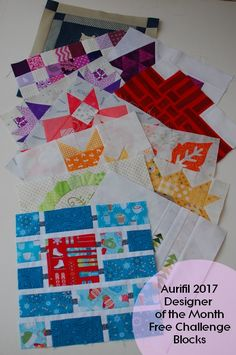 """Pat sloan 2017 Aurifil designer of the month blocks free 12"""" quilt block patters with a huge variety of styles #quilting #diy #modern"""