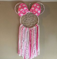 Made from sequin yarns and wood rings. Perfect for home decor, nurseries or gift. Made in NJ Diy Crafts To Sell, Easy Crafts, Arts And Crafts, Disney Diy, Disney Crafts, Diy Dream Catcher Tutorial, Dream Catcher Craft, Pom Pom Crafts, Mickey Minnie Mouse