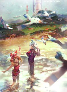 Pokemon- May/Sapphire, Steven Stone, and Wingulls Pokemon Rosa, Pokemon Mew, Pikachu, Pokemon Ships, Pokemon Comics, Pokemon Fan Art, Pokemon Steven, Lugia, Sapphire Pokemon