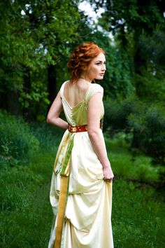Empire waist wedding gown with cap sleeves contrast by rschone, $2158.00