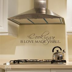 Wall Decal Quote Cooking is Love Made Visible - Vinyl Wall Stickers Word Art