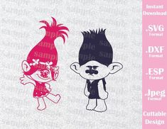 Trolls Hair Kids Characteres Princess Poppy and Branch Cutting File in SVG, ESP, DXF and JPEG Format