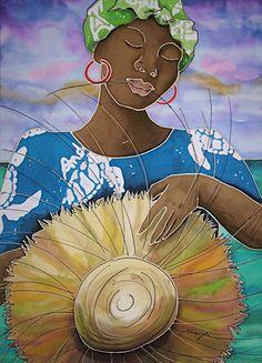 Straw Hat Caribbean Artwork by Marjolein Scott-van der Hek Caribbean Culture, Caribbean Art, Beach Cottage Decor, Coastal Decor, Mermaid Artwork, Haitian Art, African Art, African Women, Art Africain