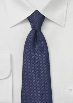 Tonal Blue Tie with Graphic Embroidery