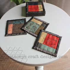 Patchwork coasters with a vintage feel by Stacey's Craft Designs