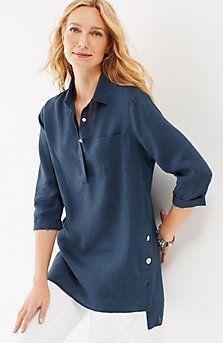 linen side-button tunic