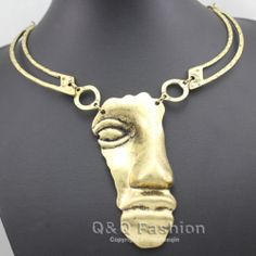Vintage Tribal Aztec 3D Face Hammered Crescent Chain Chunky Collar Bib Necklace