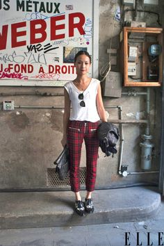 Street Chic: Paris  Isabel Marant plaid pants pair perfectly with spotted creeper shoes.  Photo: Imaxtree