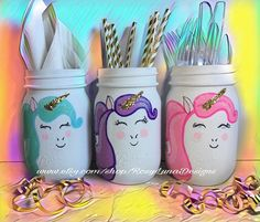 A personal favorite from my Etsy shop https://www.etsy.com/listing/522585229/giggling-unicorn-mason-jar-set-birthday