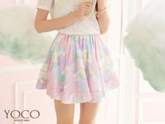 Pleated Printed Lace Skirt, Multicolor , One Size - Tokyo Fashion | YESSTYLE