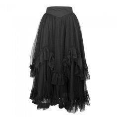 Long Black Layered Lace Skirt