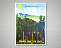 Fly by Clipper Caribbean Vintage Travel Poster - Poster Paper, Sticker or Canvas Print