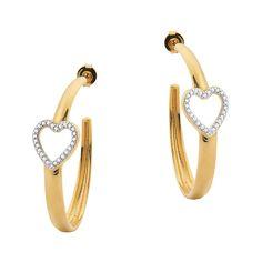 New Bijoux Online · Brinco argola lisa com coração vazado cravejado de zircônias  folheado a ouro 18kDimensões aproximadas Comprimento c66236920c