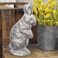 """Every Easter basket is filled with goodies, but the chocolate Easter Bunny is by far the most prized treat. This rabbit might not be made of chocolate, but he's so very sweet, which makes this reproduction chocolate mold a perfect addition to your spring decor. The 3-dimensional """"mold"""" has a finish that mimics the patina of aged tin found on antique molds. 10""""H x 5""""L x 3""""D. #easter #spring #bunny #rabbit #decor"""