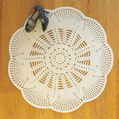 "Doily Crochet Rug EMILY - Off White - Round 36"" / 92cm"