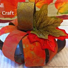 Toilet Paper Tube Pumpkin from Pinning Everyday