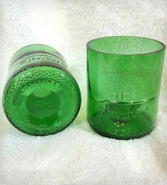 Upcycled Green Whiskey Glasses