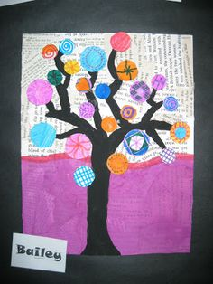 Terri's Teaching Treasures: Kandinsky Trees Art project -- could do this with magazines instead of books if you don't have ones to rip up. I like the colored circles instead of leaves.