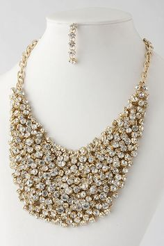 "18"" length at top  beautiful bib necklace, crystals on gold chain-mail  also comes in black crystals on silver  dark gray crystals on black  style 2307  $ 99"