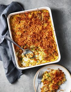 The sweetness of leeks and the depth of flavour that chicken thighs and bacon bring, plus rich cheese sauce and crunchy breadcrumbs, makes for a comforting midweek meal Leek Recipes, Chicken Recipes, Bbc Recipes, Olive Recipes, Savoury Recipes, Chicken Bacon, Recipies, Easy Cooking, Cooking Recipes
