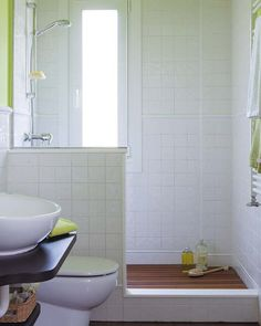 clean simple open shower. like the tile halfway up